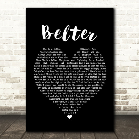 Gerry Cinnamon Belter Black Heart Song Lyric Quote Print
