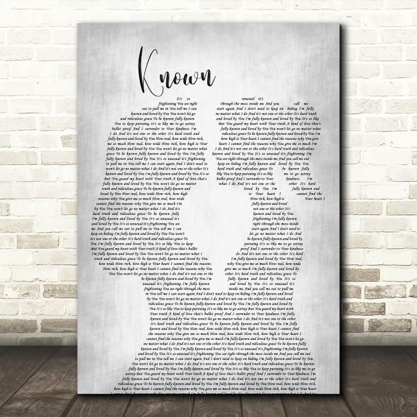 Tauren Wells Known Lesbian Women Gay Brides Couple Wedding Grey Wall Art Gift Song Lyric Print