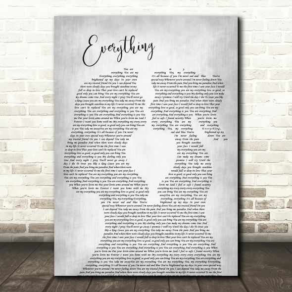 Mary J Blige Everything Lesbian Women Gay Brides Couple Wedding Grey Gift Song Lyric Print