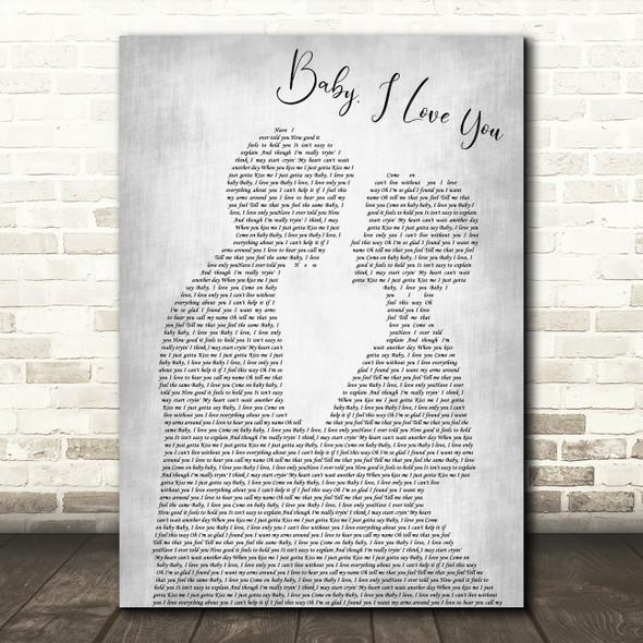Ramones Baby, I Love You Man Lady Bride Groom Wedding Grey Decorative Wall Art Gift Song Lyric Print