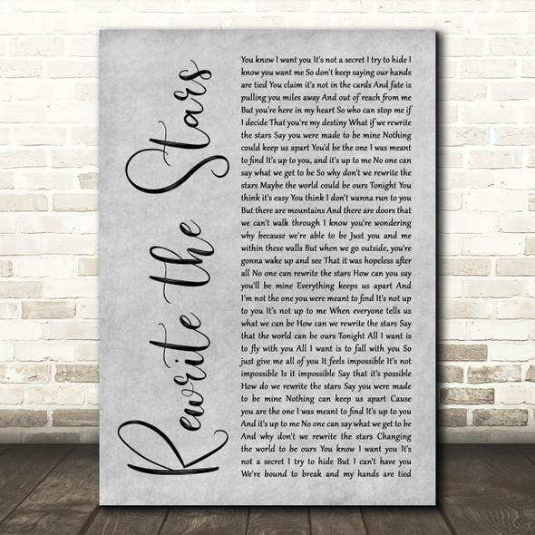 Zac Efron, Zendaya - GREATEST SHOWMAN Rewrite the Stars Grey Rustic Script Wall Art Song Lyric Print