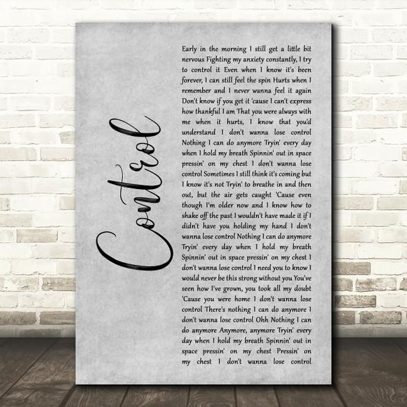 Zoe Wees Control Grey Rustic Script Decorative Wall Art Gift Song Lyric Print