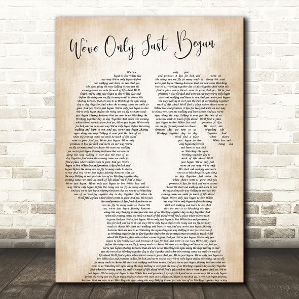 The Carpenters We've Only Just Begun Lesbian Women Gay Brides Couple Wedding Song Lyric Print