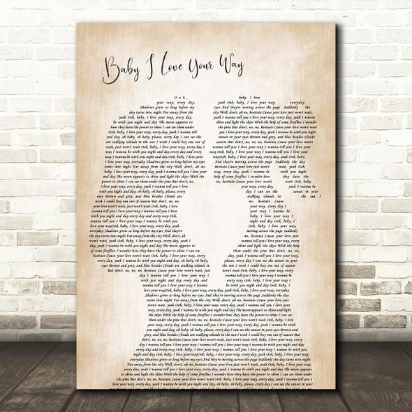 Big Mountain Baby I Love Your Way Lesbian Women Gay Brides Couple Wedding Song Lyric Print