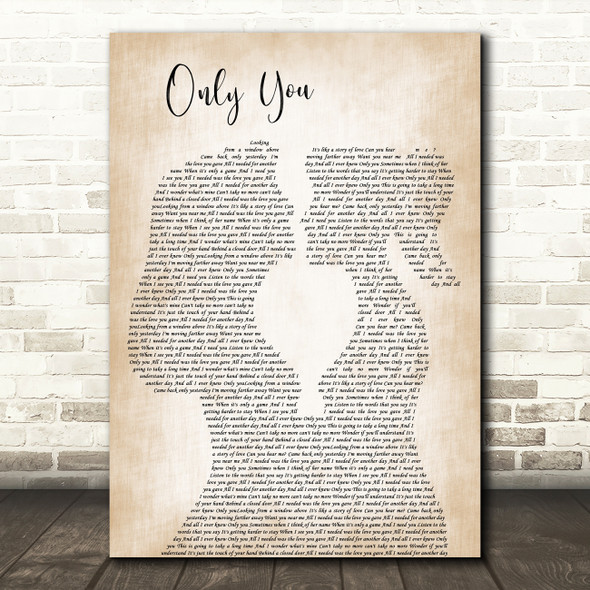 Yazoo Only You Lesbian Women Gay Brides Couple Wedding Decorative Gift Song Lyric Print
