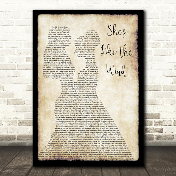 Patrick Swayze She's Like The Wind Lesbian Couple Two Ladies Dancing Wall Art Gift Song Lyric Print