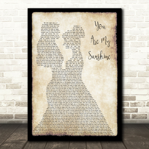 Johnny Cash You Are My Sunshine Lesbian Couple Two Ladies Dancing Wall Art Gift Song Lyric Print