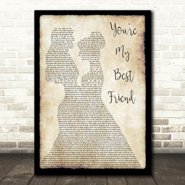 Queen You're My Best Friend Lesbian Couple Two Ladies Dancing Song Lyric Print