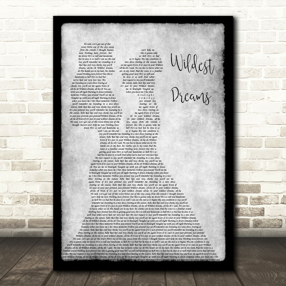 Taylor Swift Wildest Dreams Lesbian Couple Two Ladies Dancing Grey Wall Art Gift Song Lyric Print