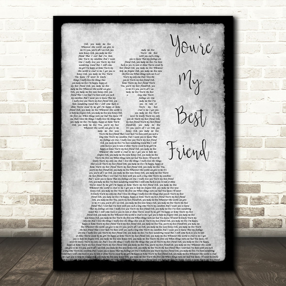 Queen You're My Best Friend Lesbian Couple Two Ladies Dancing Grey Gift Song Lyric Print