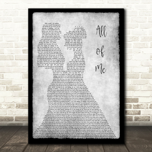 Jasmine Thompson All of Me Lesbian Couple Two Ladies Dancing Grey Gift Song Lyric Print