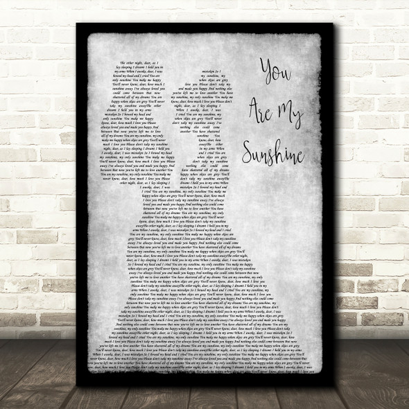 Johnny Cash You Are My Sunshine Lesbian Couple Two Ladies Dancing Grey Song Lyric Print