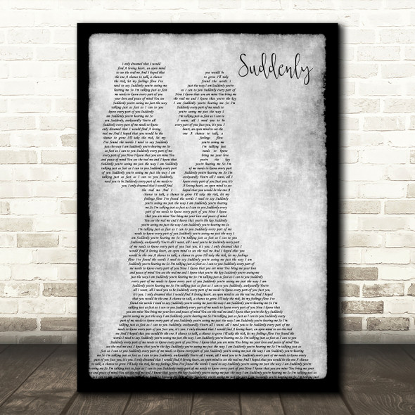 Angry Anderson Suddenly Lesbian Couple Two Ladies Dancing Grey Song Lyric Print