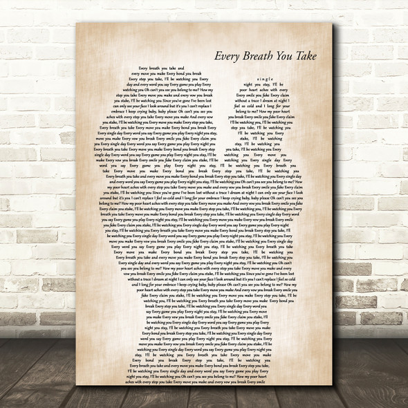 The Police Every Breath You Take Mother & Baby Decorative Wall Art Gift Song Lyric Print