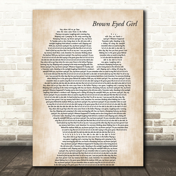 Van Morrison Brown Eyed Girl Mother & Baby Decorative Wall Art Gift Song Lyric Print