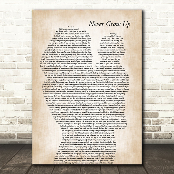 Taylor Swift Never Grow Up Mother & Baby Decorative Wall Art Gift Song Lyric Print