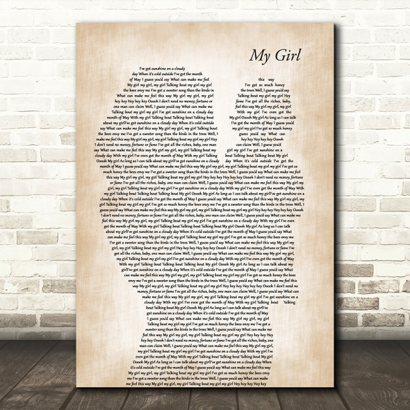 The Temptations My Girl Mother & Baby Decorative Wall Art Gift Song Lyric Print