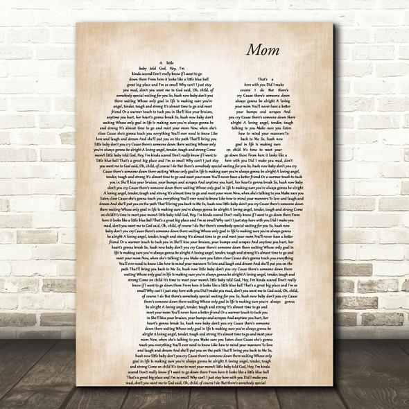 Garth Brooks Mom Mother & Baby Decorative Wall Art Gift Song Lyric Print
