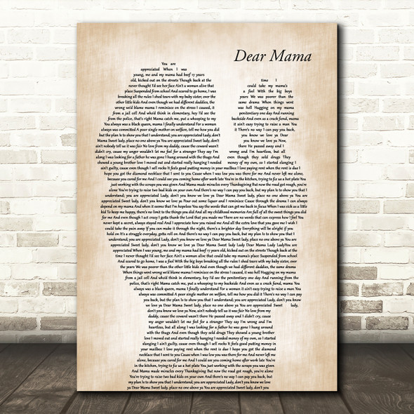 2Pac Dear Mama Mother & Baby Decorative Wall Art Gift Song Lyric Print