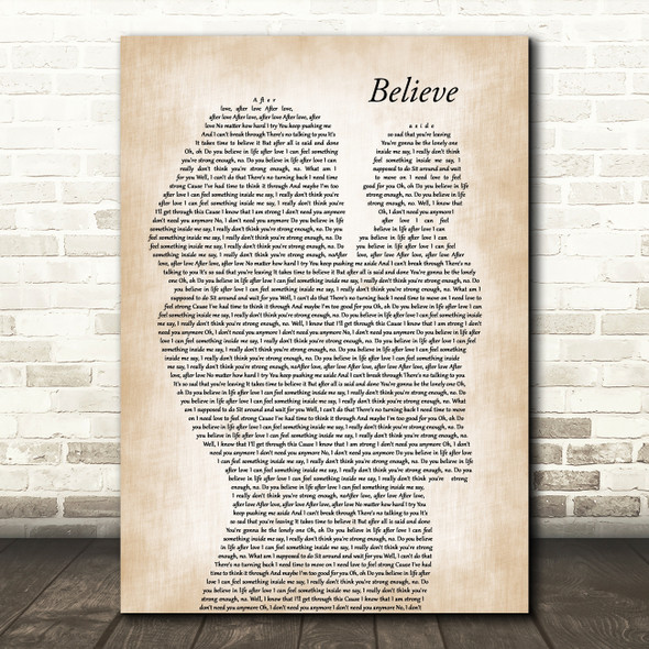 Cher Believe Mother & Baby Decorative Wall Art Gift Song Lyric Print