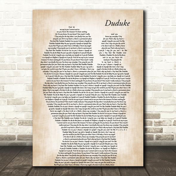 Simi Duduke Mother & Baby Decorative Wall Art Gift Song Lyric Print