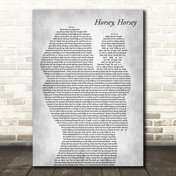 The Birthday Bunch Horsey, Horsey Mother & Baby Grey Decorative Wall Art Gift Song Lyric Print