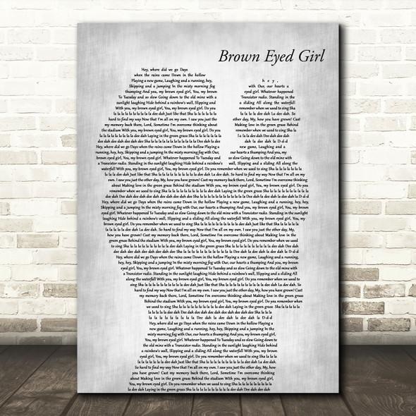 Van Morrison Brown Eyed Girl Mother & Baby Grey Decorative Wall Art Gift Song Lyric Print