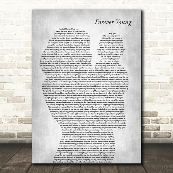 Audra Mae Forever Young Mother & Baby Grey Decorative Wall Art Gift Song Lyric Print