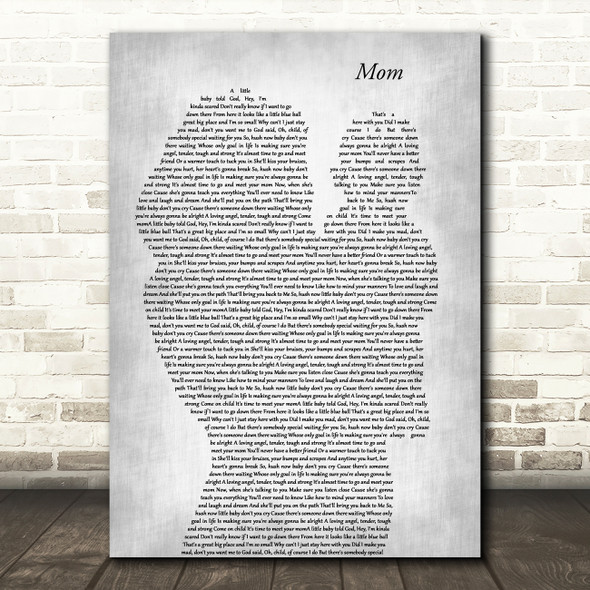 Garth Brooks Mom Mother & Baby Grey Decorative Wall Art Gift Song Lyric Print