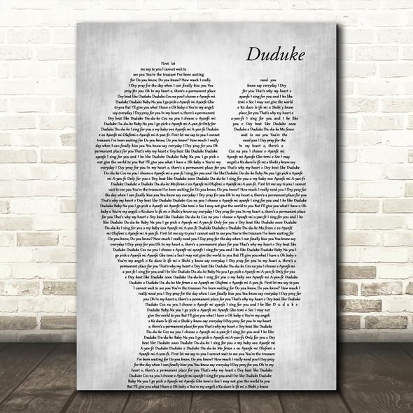 Simi Duduke Mother & Baby Grey Decorative Wall Art Gift Song Lyric Print