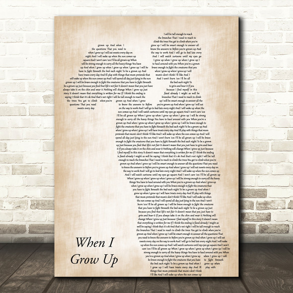 Matilda Musical When I Grow Up Mother & Child Decorative Wall Art Gift Song Lyric Print