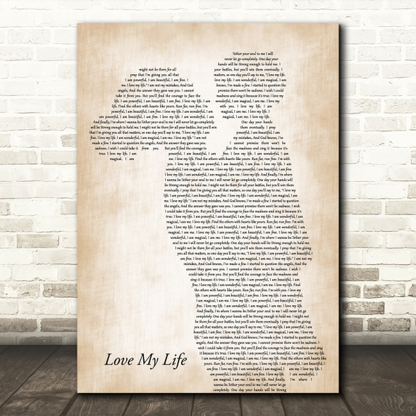 Robbie Williams Love My Life Mother & Child Decorative Wall Art Gift Song Lyric Print