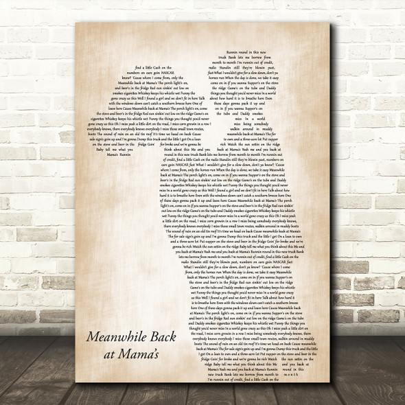 Tim McGraw Meanwhile Back at Mama's Mother & Child Decorative Gift Song Lyric Print