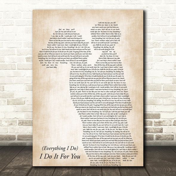 Bryan Adams (Everything I Do) I Do It For You Mother & Child Song Lyric Print
