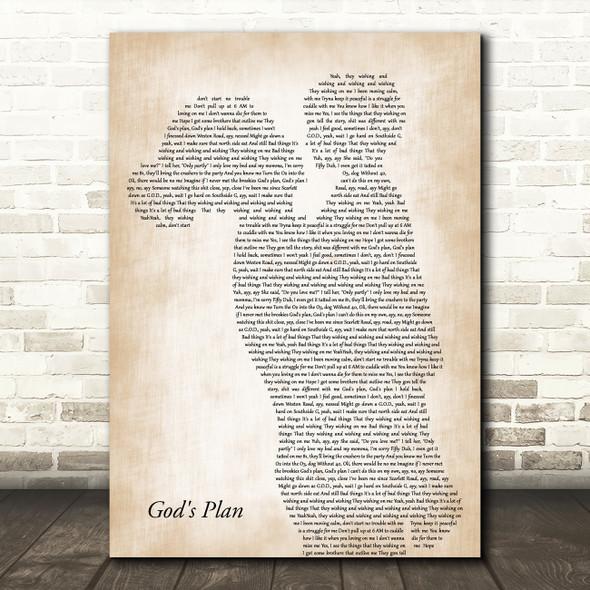 Drake God's Plan Mother & Child Decorative Wall Art Gift Song Lyric Print