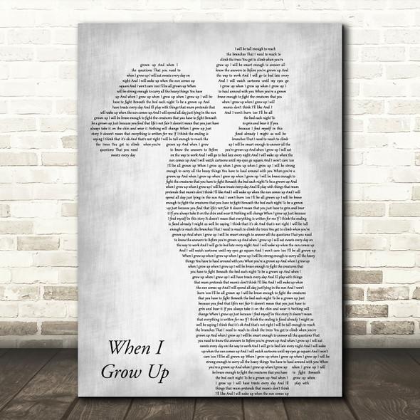 Matilda Musical When I Grow Up Mother & Child Grey Decorative Wall Art Gift Song Lyric Print