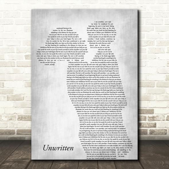 Natasha Bedingfield Unwritten Mother & Child Grey Decorative Wall Art Gift Song Lyric Print