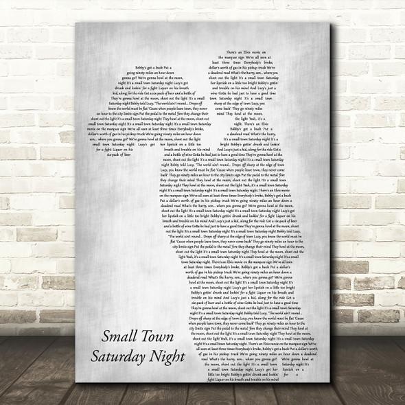 Hal Ketchum Small Town Saturday Night Mother & Child Grey Decorative Gift Song Lyric Print