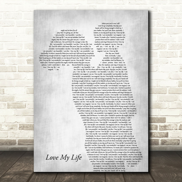 Robbie Williams Love My Life Mother & Child Grey Decorative Wall Art Gift Song Lyric Print