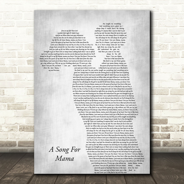 Boyz II Men A Song For Mama Mother & Child Grey Decorative Wall Art Gift Song Lyric Print