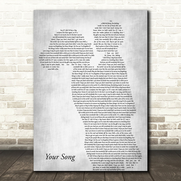 Elton John Your Song Mother & Child Grey Decorative Wall Art Gift Song Lyric Print