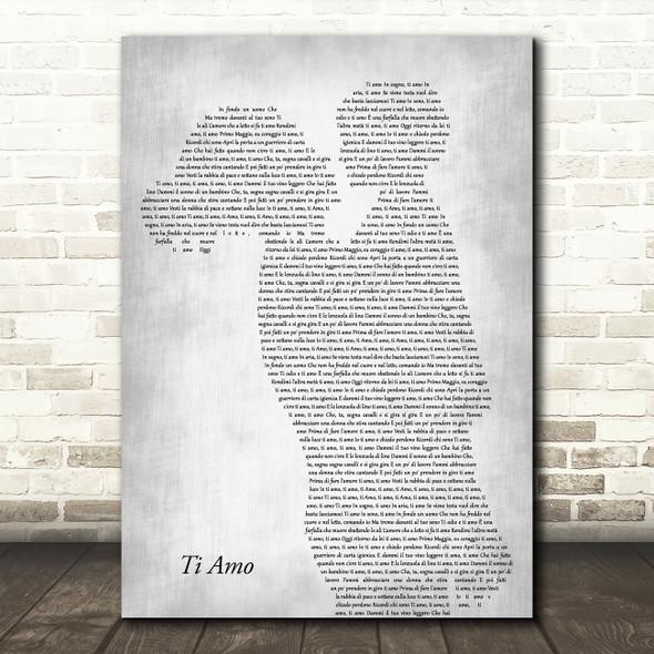 Umberto Tozzi Ti Amo Mother & Child Grey Decorative Wall Art Gift Song Lyric Print