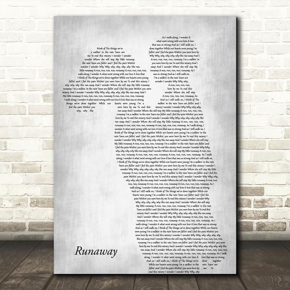 Del Shannon Runaway Mother & Child Grey Decorative Wall Art Gift Song Lyric Print