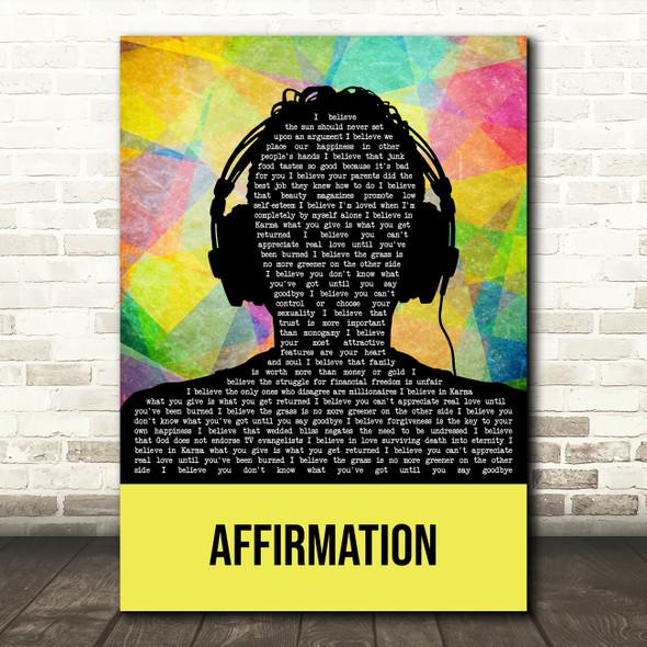 Savage Garden Affirmation Multicolour Man Headphones Decorative Wall Art Gift Song Lyric Print