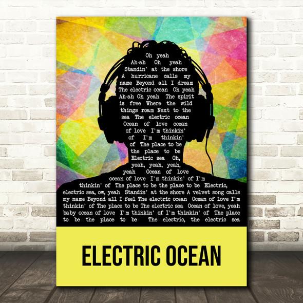 The Cult Electric Ocean Multicolour Man Headphones Decorative Gift Song Lyric Print