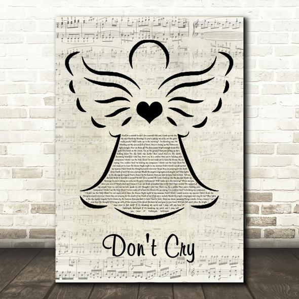 Bugzy Malone & Dermot Kennedy Don't Cry Music Script Angel Decorative Wall Art Gift Song Lyric Print