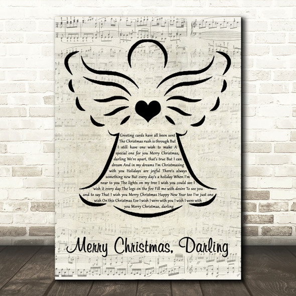 The Carpenters Merry Christmas, Darling Music Script Angel Decorative Gift Song Lyric Print