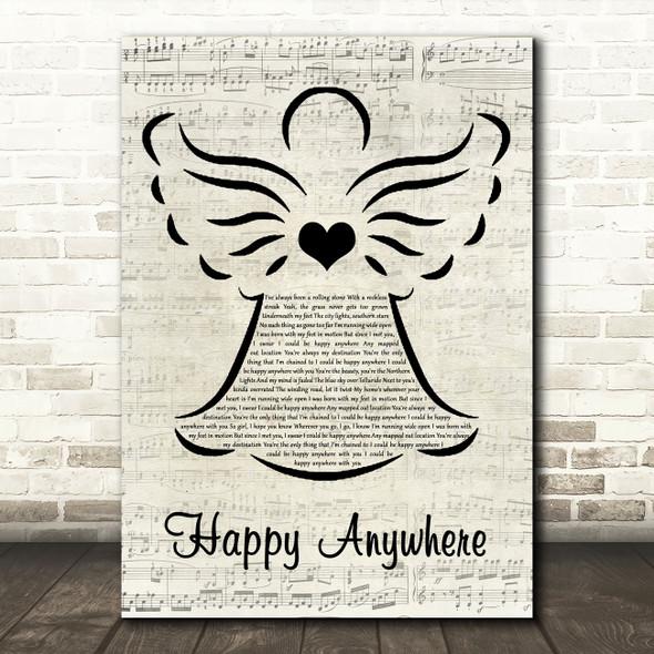 Blake Shelton Happy Anywhere Music Script Angel Decorative Wall Art Gift Song Lyric Print