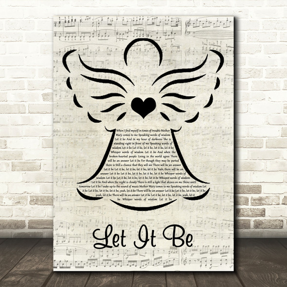 The Beatles Let It Be Music Script Angel Decorative Wall Art Gift Song Lyric Print