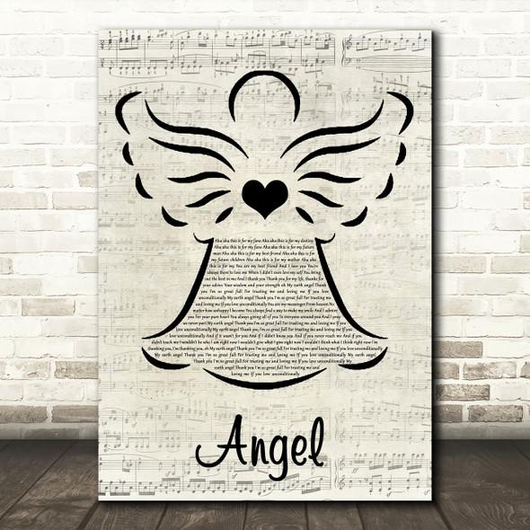 Kelly Rowland Angel Music Script Angel Decorative Wall Art Gift Song Lyric Print
